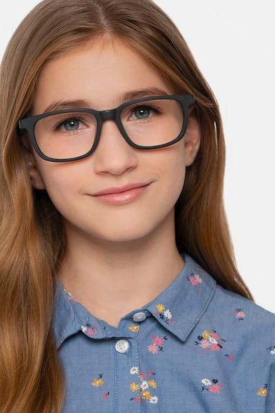 Little Bristol Black Acetate Eyeglass Frames for Women from EyeBuyDirect, Front View