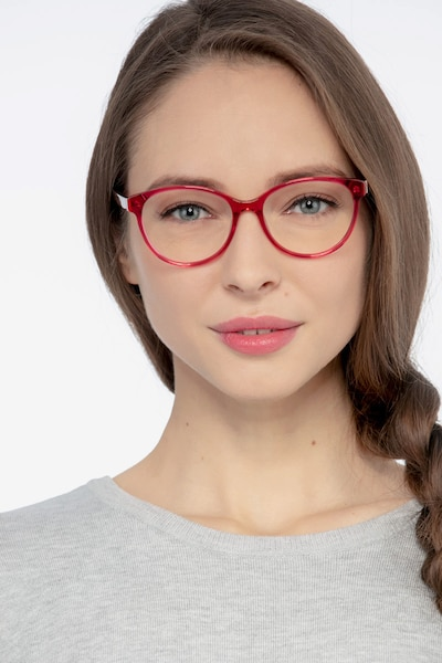Laya Red Acetate Eyeglass Frames for Women from EyeBuyDirect