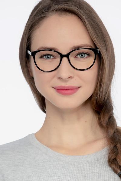 Laya Noir Acétate Montures de Lunettes pour Femmes d'EyeBuyDirect, Vue de Face