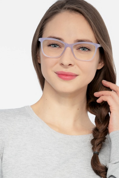 Cannes Clear Purple Acetate Eyeglass Frames for Women from EyeBuyDirect, Front View