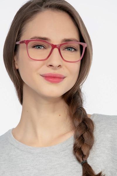 Cannes Clear Raspberry Acétate Montures de Lunette de vue pour Femmes d'EyeBuyDirect, Vue de Face