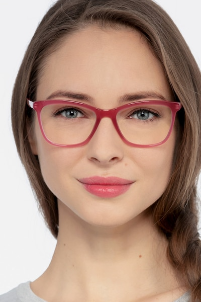 Cannes Clear Raspberry Acetate Eyeglass Frames for Women from EyeBuyDirect