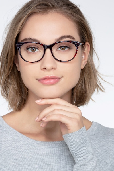 Mariposa Red Tortoise Acetate Eyeglass Frames for Women from EyeBuyDirect, Front View