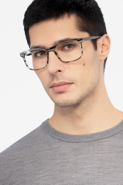 Ballast Gray Striped Acetate Eyeglass Frames for Men from EyeBuyDirect, Front View