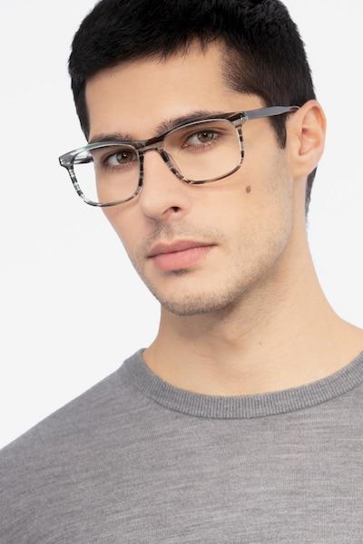 Ballast Gray Striped Acétate Montures de Lunettes pour Hommes d'EyeBuyDirect, Vue de Face