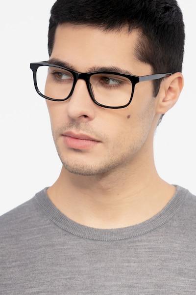 Ballast Noir Acétate Montures de Lunettes pour Hommes d'EyeBuyDirect, Vue de Face