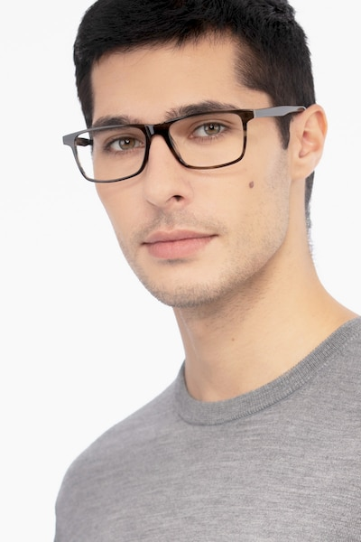 Mariner Gray Striped Acetate Eyeglass Frames for Men from EyeBuyDirect, Front View