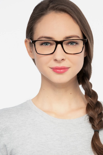 Mariner Gray Striped Acetate Eyeglass Frames for Women from EyeBuyDirect, Front View