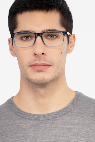Mariner Clear Blue Acetate Eyeglass Frames for Men from EyeBuyDirect, Front View