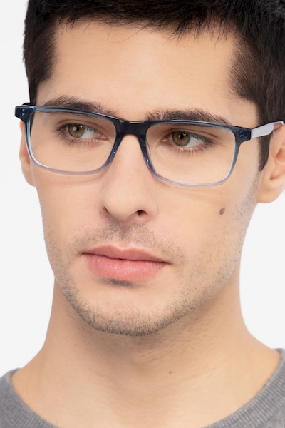 Mariner Clear Blue Acetate Eyeglass Frames for Men from EyeBuyDirect