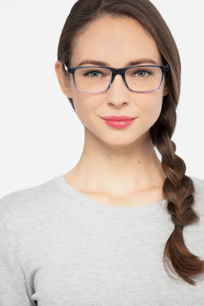 Mariner Clear Blue Acetate Eyeglass Frames for Women from EyeBuyDirect, Front View