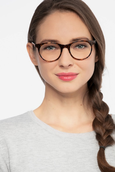 Delle Brown Floral Plastic Eyeglass Frames for Women from EyeBuyDirect, Front View