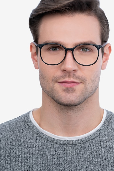 Lucia Matte Black Plastic Eyeglass Frames for Men from EyeBuyDirect, Front View