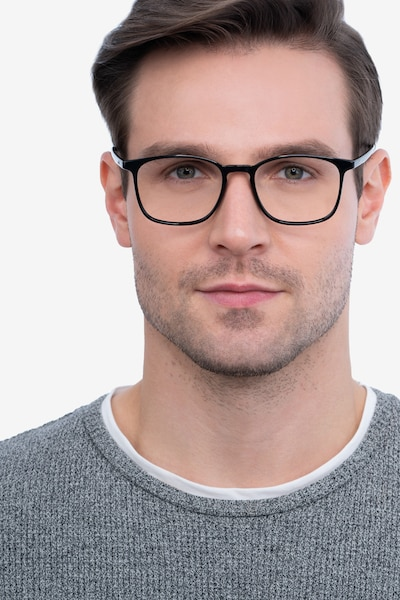 Trenton Black Plastic Eyeglass Frames for Men from EyeBuyDirect, Front View