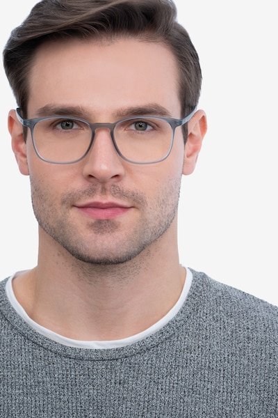 Trenton Gray Plastic Eyeglass Frames for Men from EyeBuyDirect, Front View
