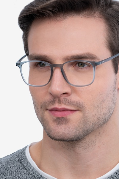 Trenton Gray Plastic Eyeglass Frames for Men from EyeBuyDirect