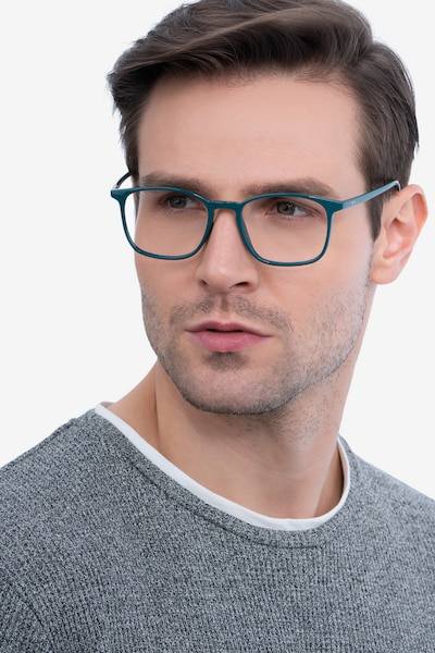 Trenton Green Plastic Eyeglass Frames for Men from EyeBuyDirect, Front View