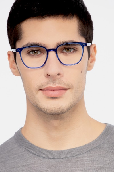 Regalia Blue Acetate Eyeglass Frames for Men from EyeBuyDirect, Front View