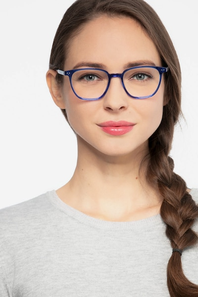 Regalia Blue Acetate Eyeglass Frames for Women from EyeBuyDirect, Front View