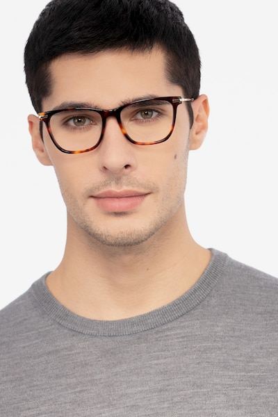 Sebastian Tortoise Acetate Eyeglass Frames for Men from EyeBuyDirect, Front View
