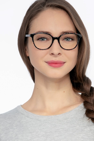Pixels Black Floral Acetate Eyeglass Frames for Women from EyeBuyDirect, Front View