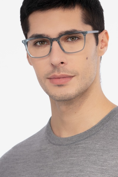 Etched Clear Blue Acetate Eyeglass Frames for Men from EyeBuyDirect, Front View