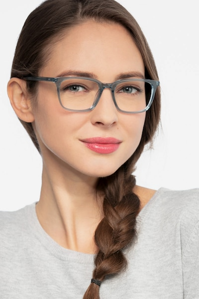 Etched Clear Blue Acetate Eyeglass Frames for Women from EyeBuyDirect, Front View