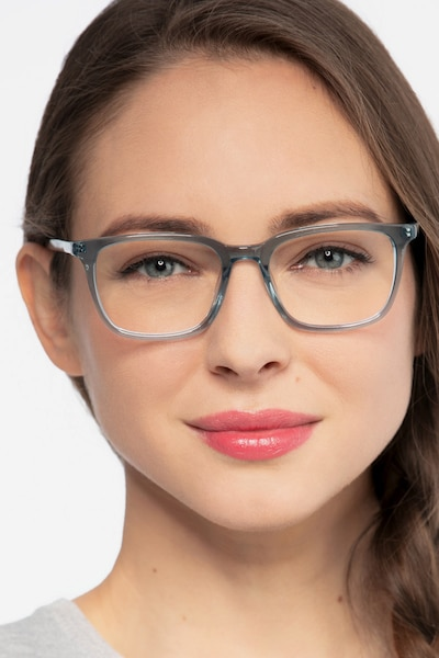 Etched Clear Blue Acetate Eyeglass Frames for Women from EyeBuyDirect