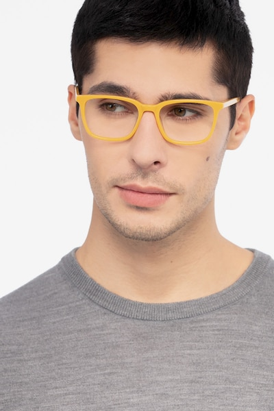 Etched Yellow Acetate Eyeglass Frames for Men from EyeBuyDirect, Front View