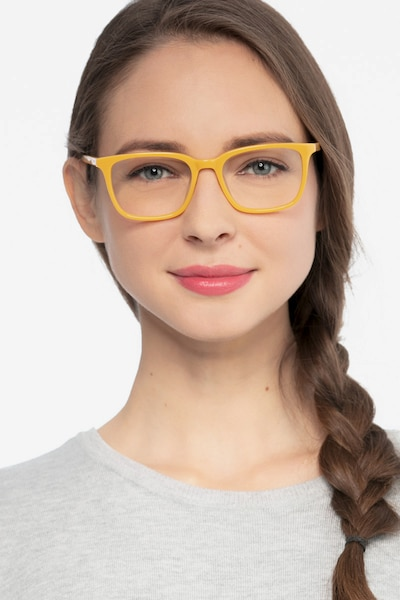 Etched Yellow Acetate Eyeglass Frames for Women from EyeBuyDirect