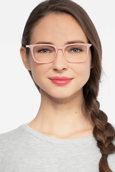 Etched Pink Acetate Eyeglass Frames for Women from EyeBuyDirect, Front View