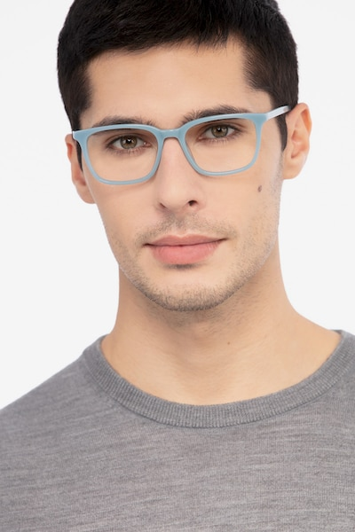 Etched Blue Acetate Eyeglass Frames for Men from EyeBuyDirect, Front View
