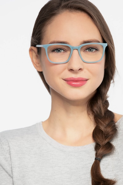 Etched Blue Acetate Eyeglass Frames for Women from EyeBuyDirect, Front View