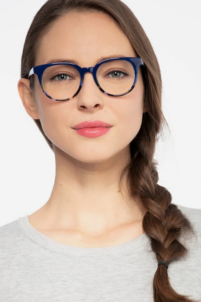 Rialto Blue Floral Acetate Eyeglass Frames for Women from EyeBuyDirect, Front View