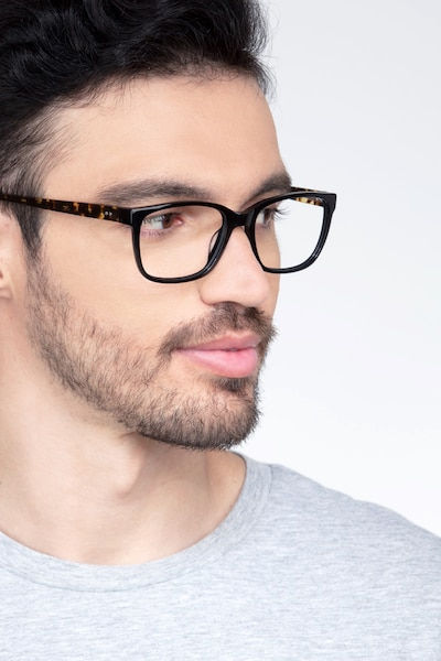 Demo Black Acetate Eyeglass Frames for Men from EyeBuyDirect, Front View