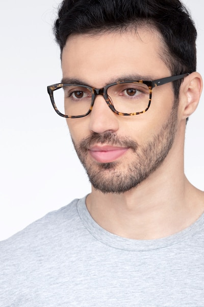 Demo Tortoise Acetate Eyeglass Frames for Men from EyeBuyDirect, Front View