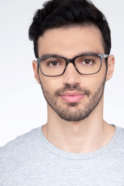 Demo Gray Acetate Eyeglass Frames for Men from EyeBuyDirect, Front View