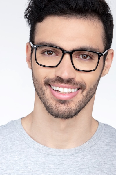 Chief Black Acetate Eyeglass Frames for Men from EyeBuyDirect, Front View