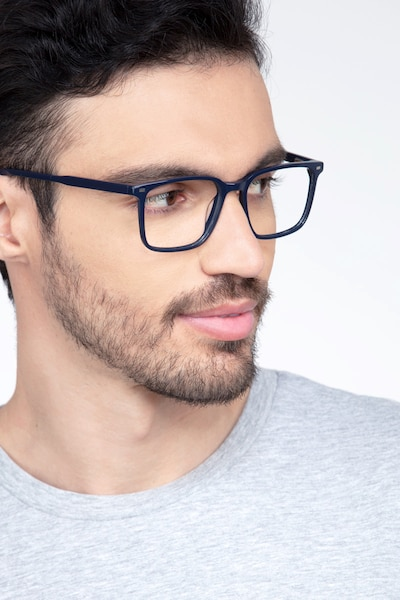 Chief Navy Acetate Eyeglass Frames for Men from EyeBuyDirect, Front View