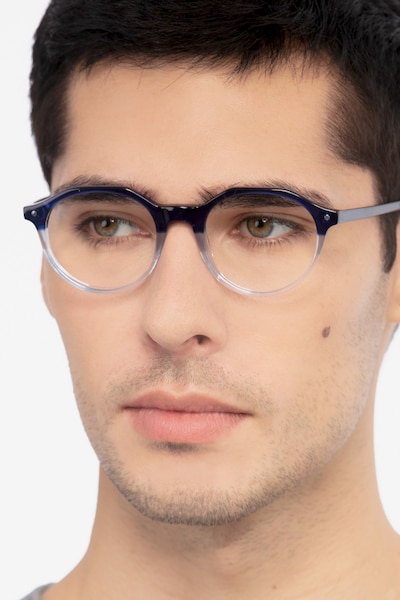 Moby Clear Blue Acetate Eyeglass Frames for Men from EyeBuyDirect