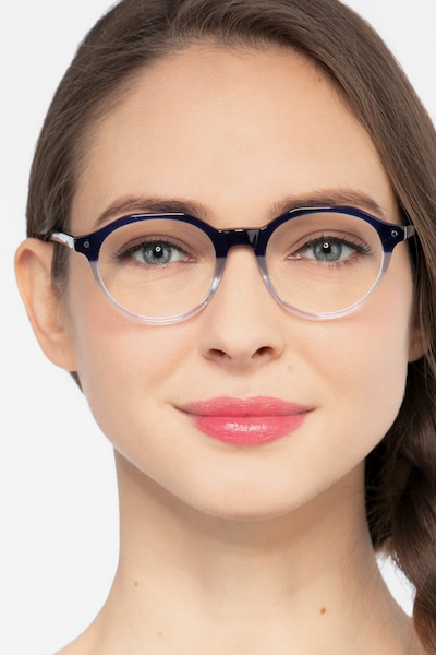 Moby Clear Blue Acetate Eyeglass Frames for Women from EyeBuyDirect
