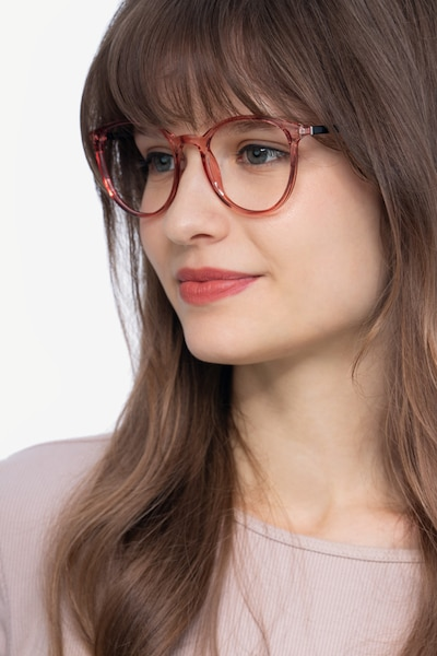 Macaron Clear Pink Plastic Eyeglass Frames for Women from EyeBuyDirect, Front View