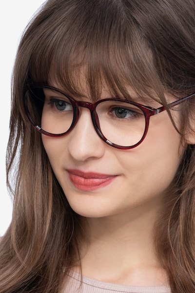 Macaron Burgundy Plastic Eyeglass Frames for Women from EyeBuyDirect