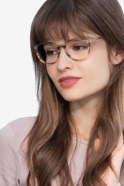 Messenger Rayures Acétate Montures de Lunettes pour Femmes d'EyeBuyDirect, Vue de Face