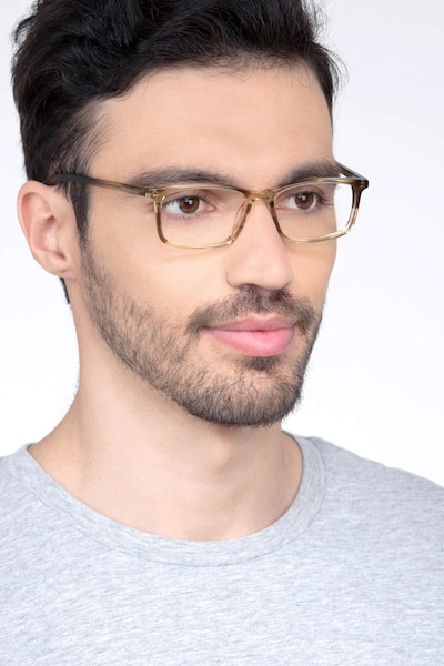 Crane Brown Striped Acetate Eyeglass Frames for Men from EyeBuyDirect, Front View
