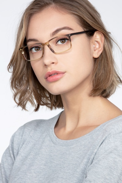 Crane Brown Striped Acetate Eyeglass Frames for Women from EyeBuyDirect