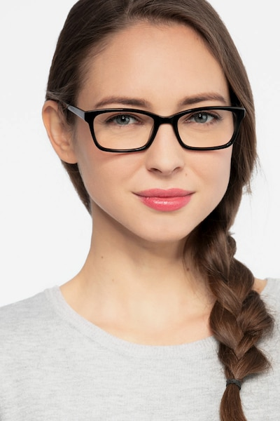 Mesquite Black Acetate Eyeglass Frames for Women from EyeBuyDirect, Front View