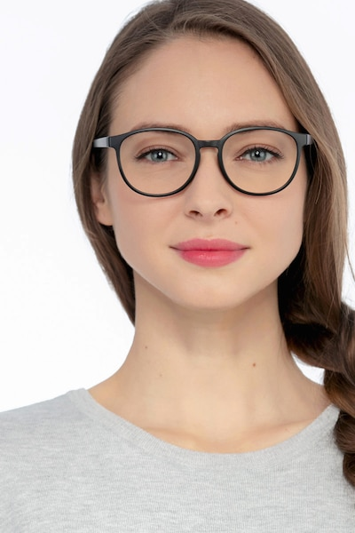 Shifter Black Plastic Eyeglass Frames for Women from EyeBuyDirect, Front View