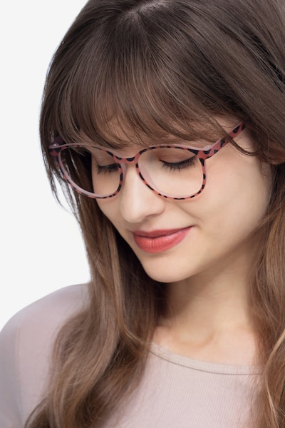 Shifter Pink Tortoise Plastic Eyeglass Frames for Women from EyeBuyDirect, Front View