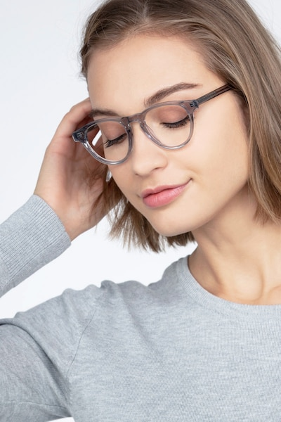 Marine Clear Gray Acetate Eyeglass Frames for Women from EyeBuyDirect, Front View